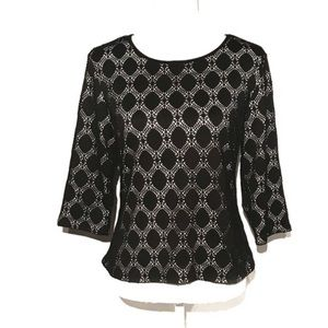 Vince Camuto oval black eyelet overlay top